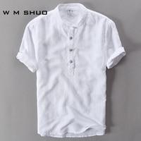 Mens Shirts Fashion 2017 Summer Short Sleeve Slim Linen Shirts Male White Color Casual Shirts Plus