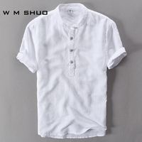 Mens Shirts Fashion 2017 Summer Short Sleeve Slim Linen Shirts Male White Color Casual Shirts Plus