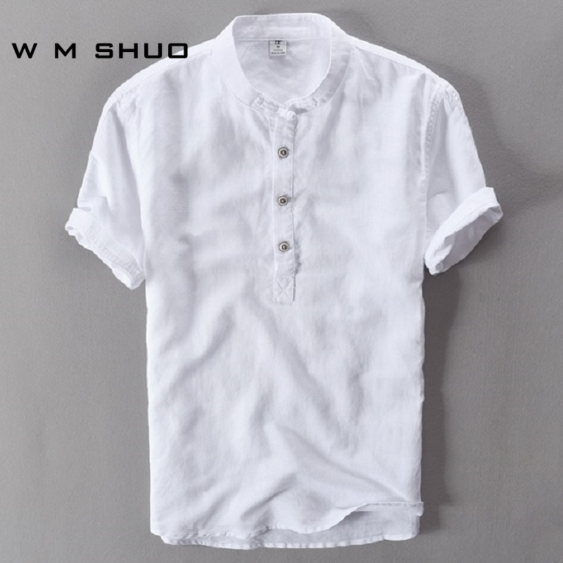 Mens Shirts Fashion 2017 Summer Short Sleeve Slim Linen Shirts Male White Color Casual Shirts Plus Size Tops Camisa Masculina