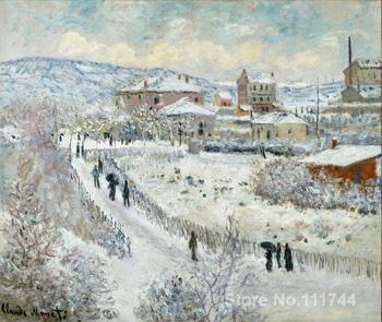 Art for office space View of Argenteuil in the Snow Claude Monet Paintings High quality hand painted
