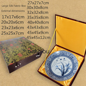 Luksusowy wysokiej klasy kwadratowy drewniany schowek chiński styl biżuteria danie płyta kolekcja Box tkanina jedwabna opakowanie na prezenty Box Decor