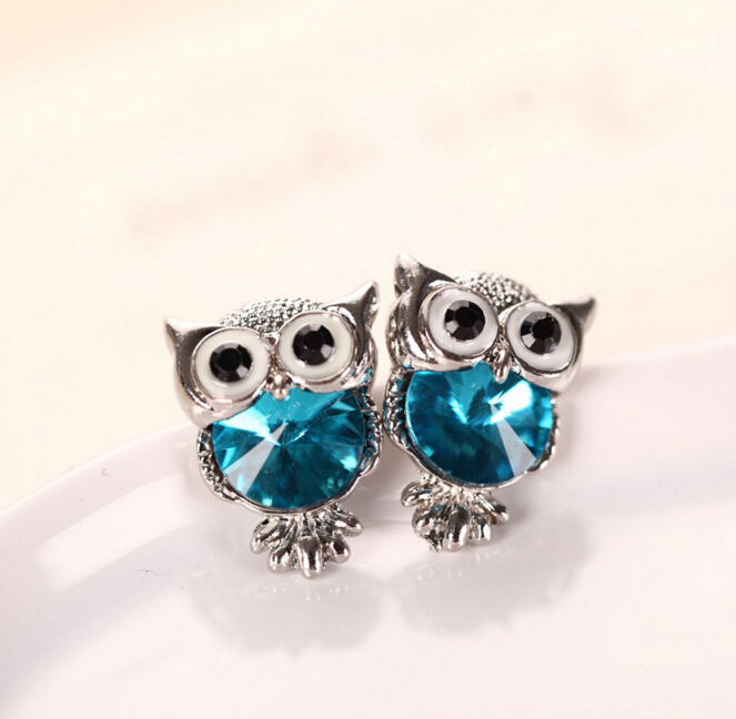 Fashion Cute Charms Gold Color Crystal Rhinestone Owl Stud Earrings For Women Girl Wedding Brincos Animal Jewelry 11 Color