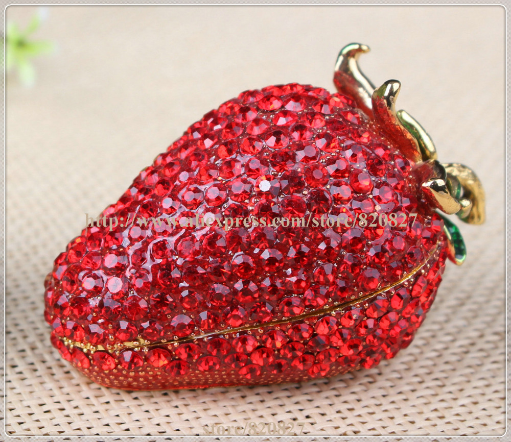 Strawberry Berry Patch Hinged Trinket Box Strawberry Fruit Home Kitchen Decor Strawberry Fruit Handmade Jewel Metal Jewelry Box jewel box