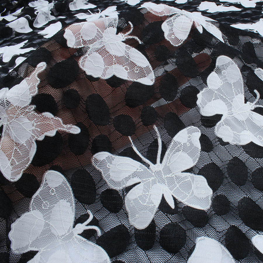 "1 MTR WHITE SEQUENCED LACE FISH NET BRIDAL FABRIC...55/"" WIDE"