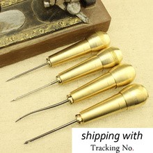 awl needle shoes cobbler shoe repair crochet copper fashioned copper needle bevel tool DIY leather tools sewing crochet hook