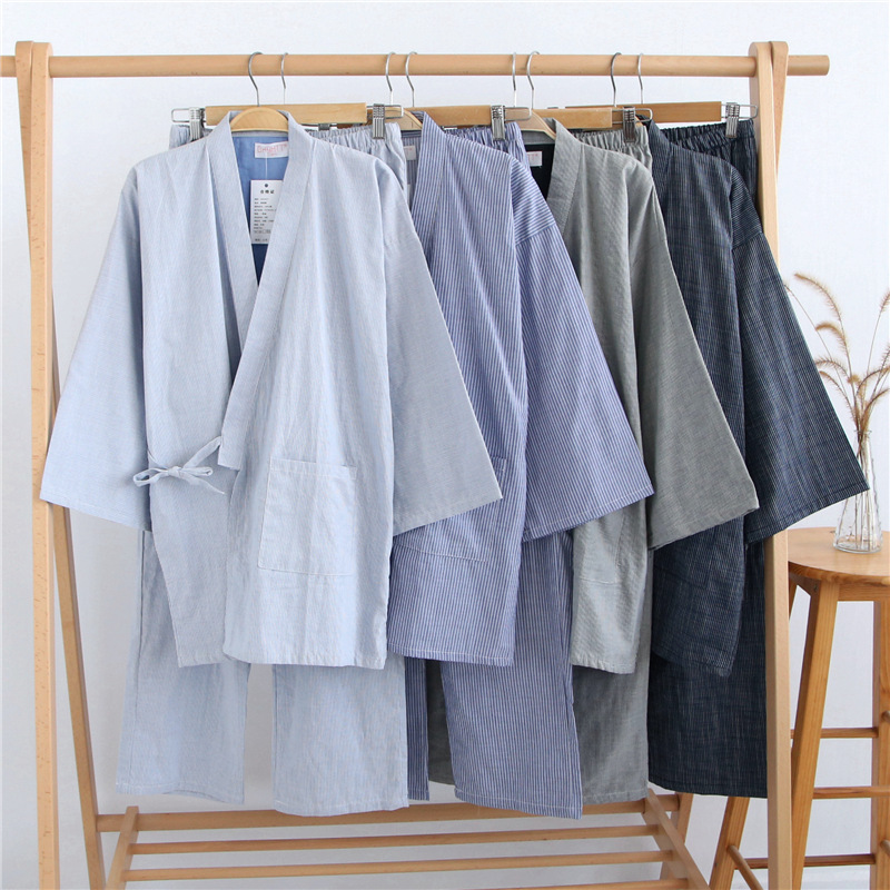 2019 Summer Men 100% Gauze Cotton Kimono Pajamas Set Japanese Traditional Pajamas Kimono Male Pyjamas Robes Suit 032205