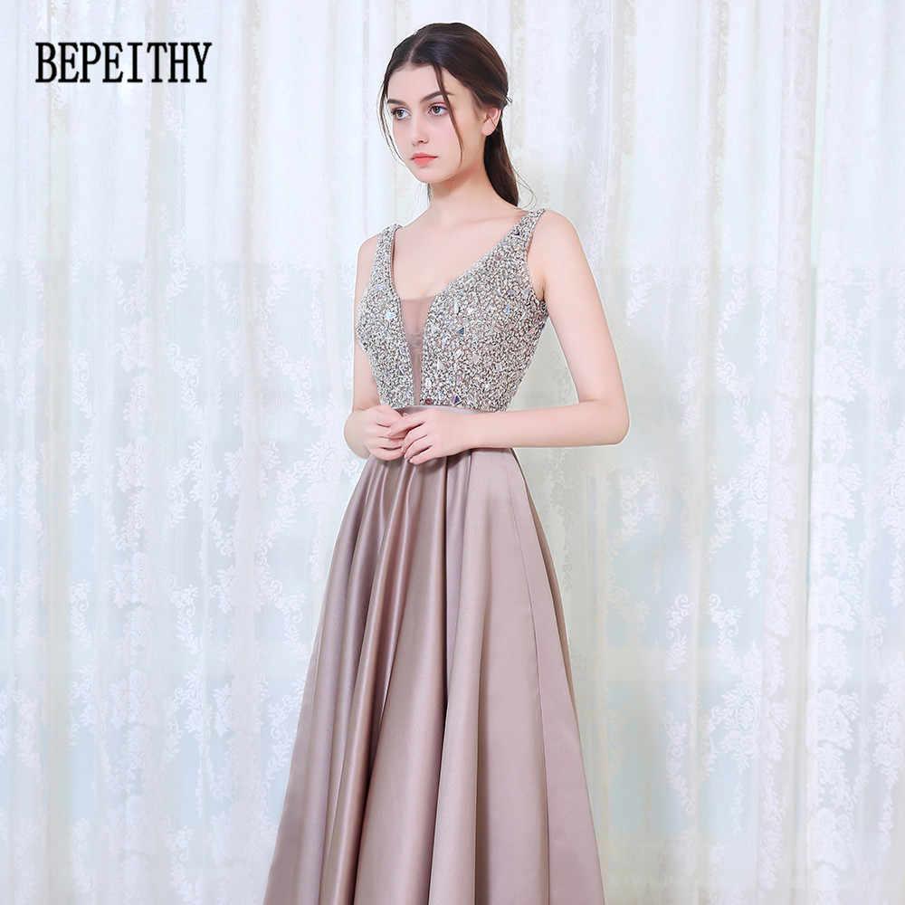 BEPEITHY/Новое поступление 2019 года; элегантные вечерние платья с v-образным вырезом и открытой спиной; вечернее платье с бусинами; vestidos De Festa