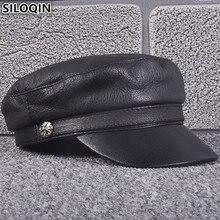 SILOQIN Unisex New Autumn Winter Mens Womens Genuine Leather Hat Sheepskin Army Military Hats Elegant Brands Bone Flat Caps