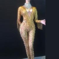 Сексуальная Золотая бахрома Комбинезон спандекс одна деталь Стразы Костюм для сцены одежда танцев Певица полюс танцы боди DL3439