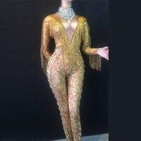 Сексуальный Золотой с бахромой Комбинезон спандекс цельный Стразы Костюм сценическая одежда для танцевальных выступлений певец полюс тан