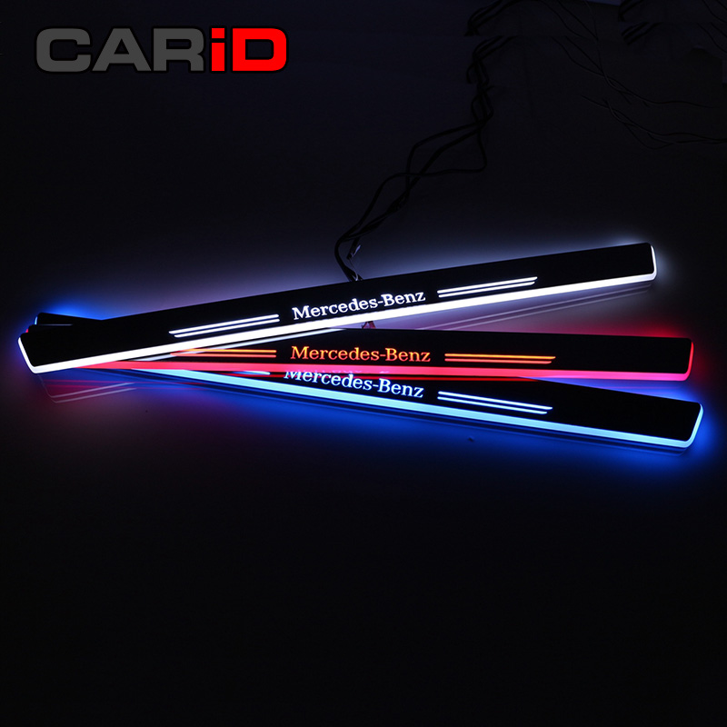 Led Car Scuff Plate Trim Pedal Door Sill Pathway Moving