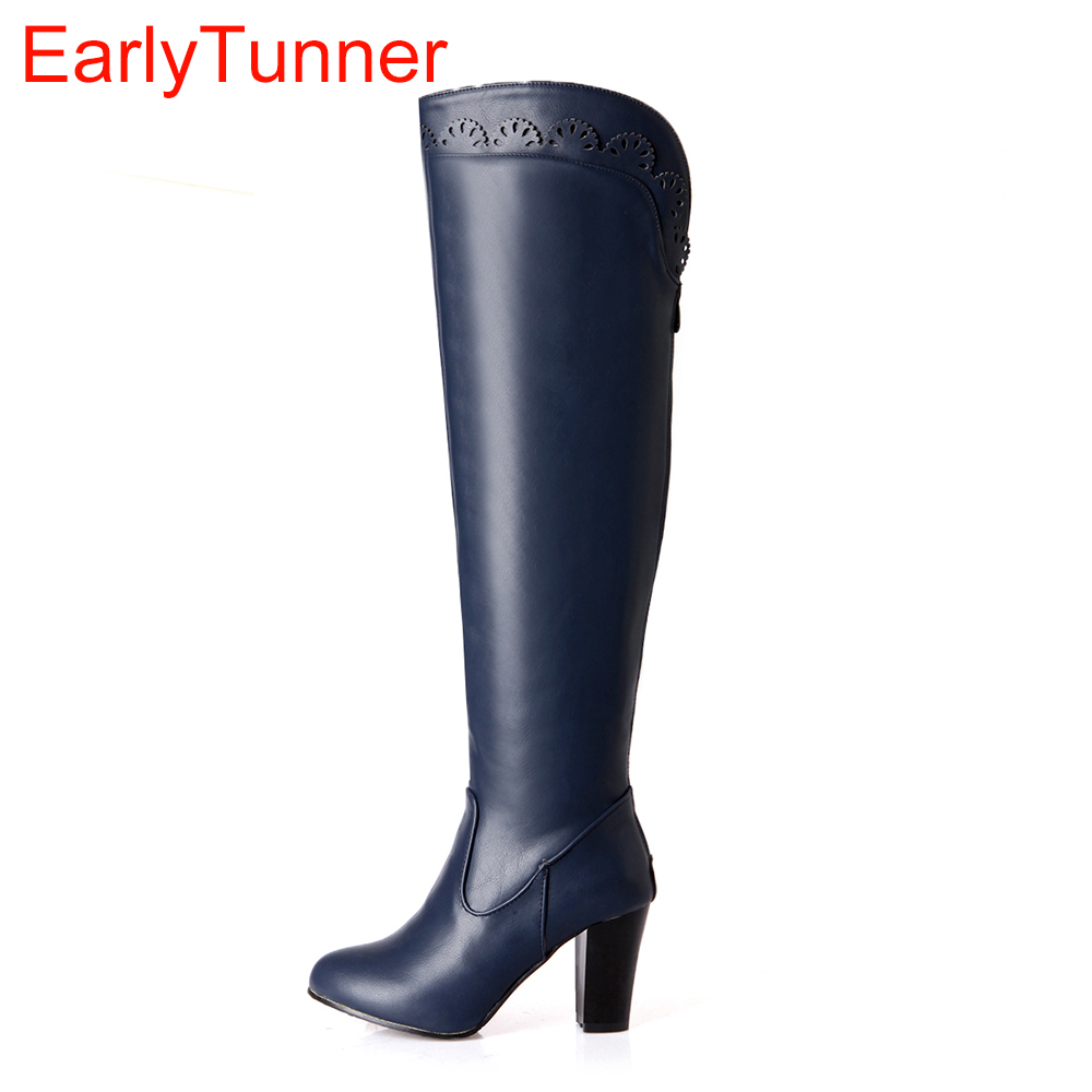 New Hot Sexy Sales New Black White Blue Green Women Over the Knee Thigh High Boots Ladies Shoes EB20 Plus Big Size 31 43 10 brand new hot sales women nude ankle boots red black buckle ladies riding spike shoes high heels emb08 plus big size 32 45 11