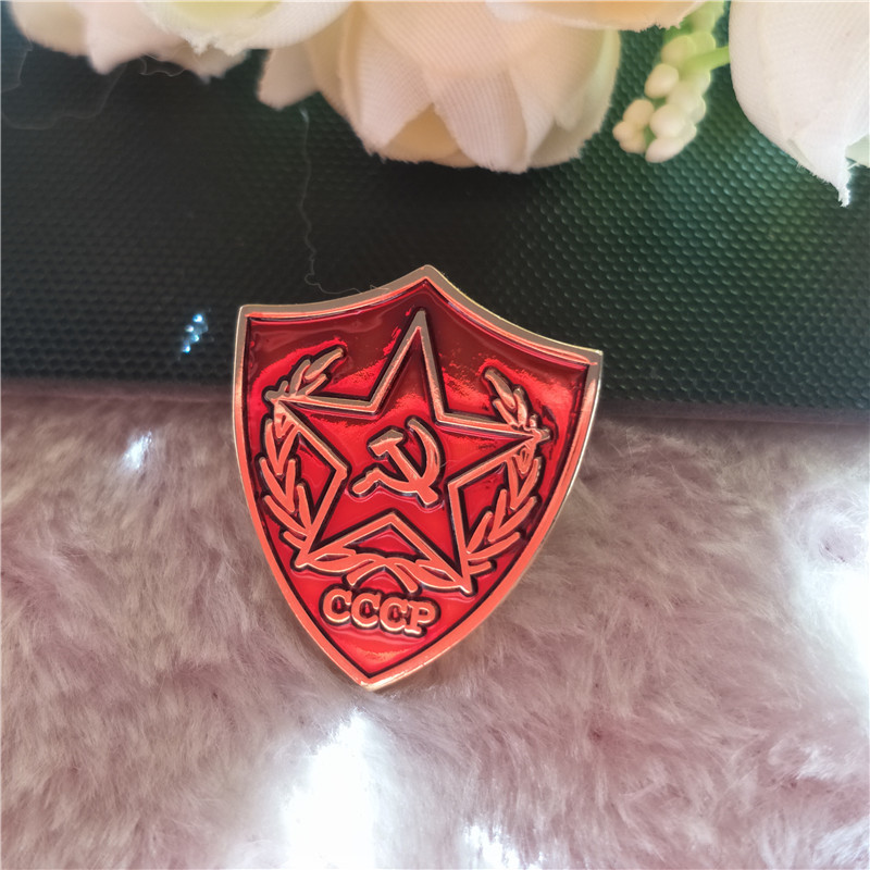 1'' Socialism Russian Enamel Badge Lapel Pin Soviet Union CCCP Red Star Flag Victory Day Brooch Pins Metal Craft War Hammer