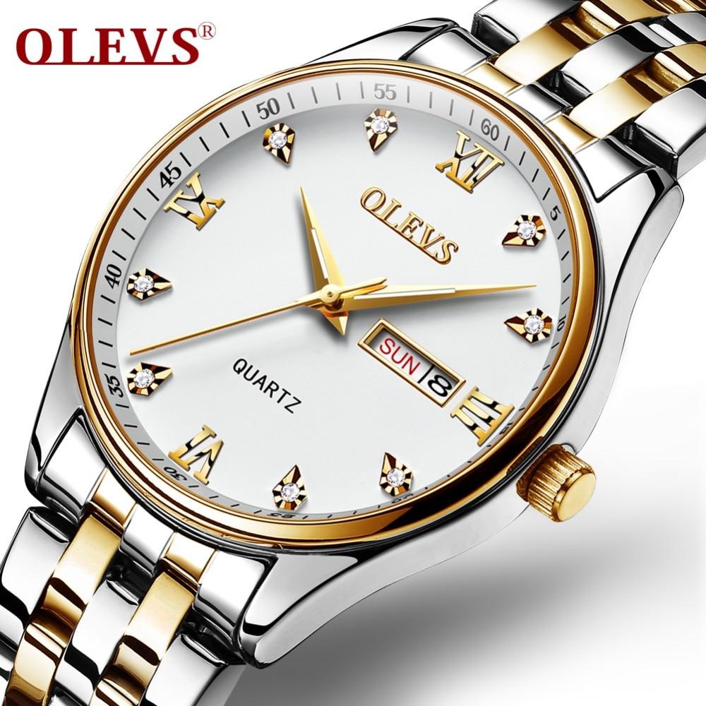 OLEVS New Relogio Luminous Watch Men Steam Stainless Steel Men Casual Waterproof Rome Rhinestone Quartz watch Clock Date Week