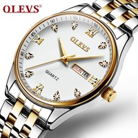 OLEVS New Relogio Luminous Watch Men Steam Stainless Steel Men Casual Waterproof Rome Rhinestone Quartz watch Clock Date Week