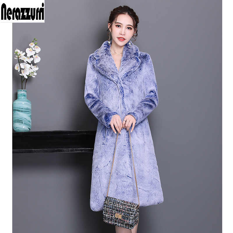 Nerazzurri Kış faux kürk ceket kadın kürklü lüks kabarık ceket kalınlaşmak sıcak uzun artı boyutu sahte rex tavşan kürk dış giyim 5xl 6xl
