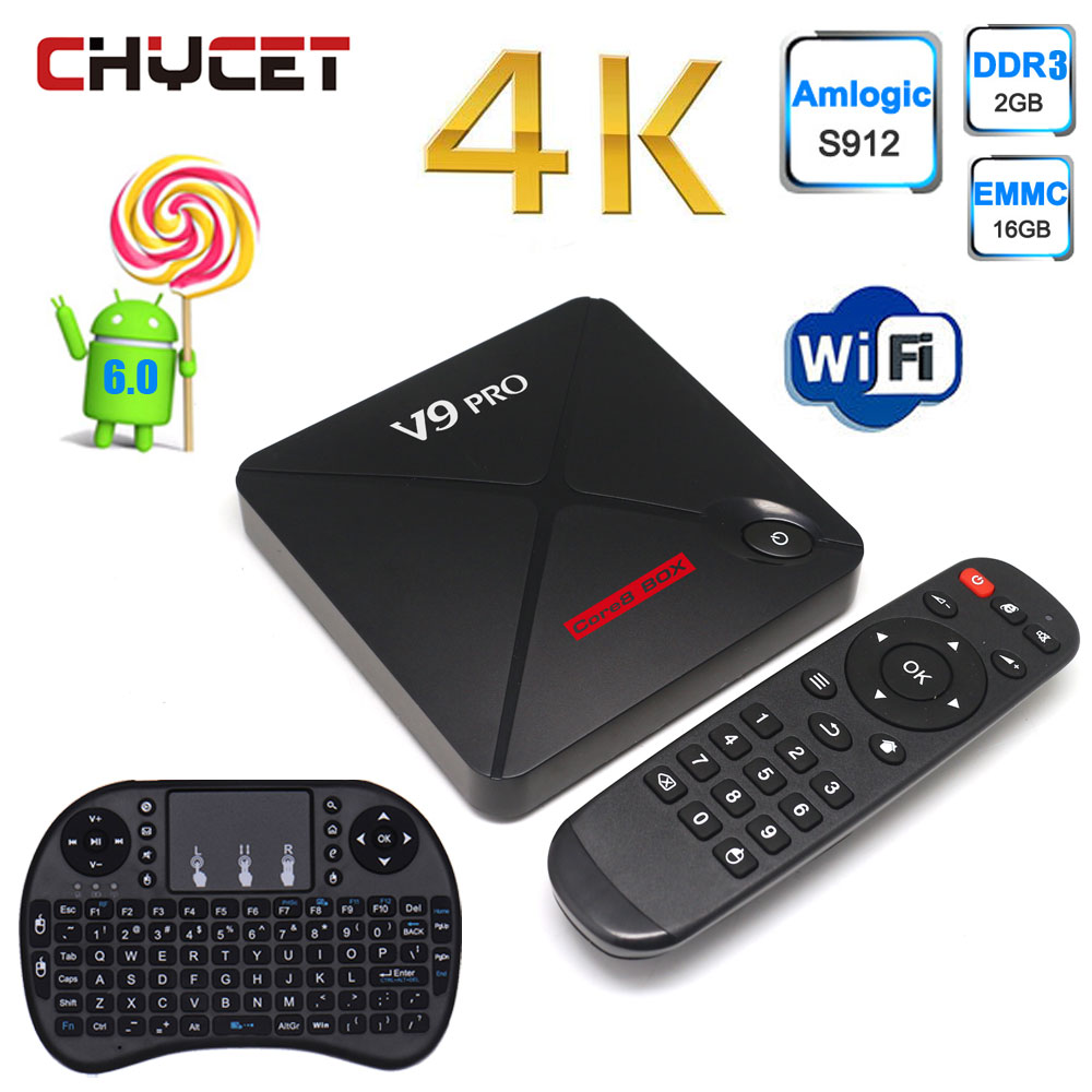V9 PRO Android 6.0 TV Box Amlogic S912  Quad Core Cortex-A53  Smart TV Box RAM 2GB ROM 16GB support WIFI LAN 100M Set-top Box mxiii pro android amlogic s812 quad core 2g 8g 5g wifi tv box