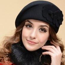 Mujeres Merino lana boina sombrero señora sombrero del invierno mujeres  artista flor boina capucha señora elegante 30d4af7e68b