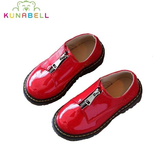 2017 Новый Мальчики Девочки Мода Англия Молния Shoes Весна Осень Дети Кожаные Shoes Дети Анти-Скользкая Кожа Shoes C233