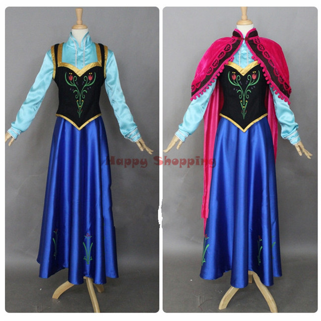 Custom Anna Frozen Costumes Fatasia Princess Anna Costume Cosplay Adult Womens Party Dress & Custom Anna Frozen Costumes Fatasia Princess Anna Costume Cosplay ...
