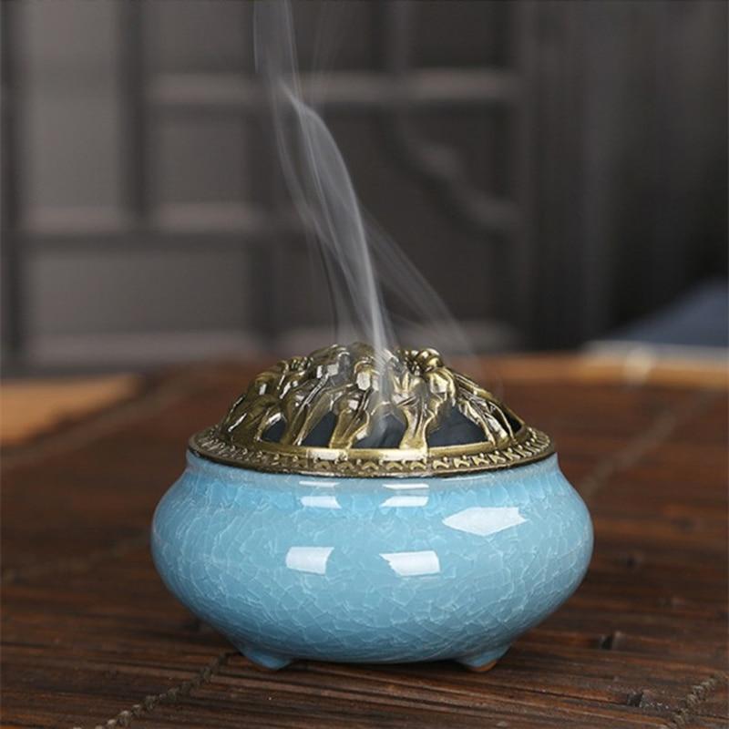 Celadon incense burner copper cover ceramic Buddha with antique alloy line incense sandalwood ice cracking plate incense burners