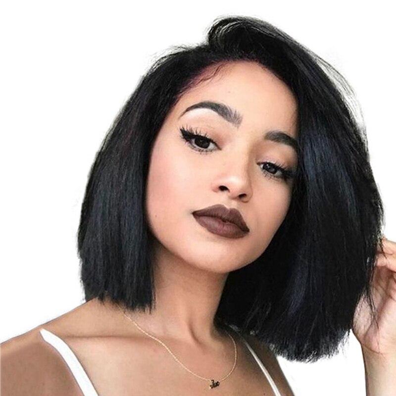 Плотность 250 Короткие полный Синтетические волосы на кружеве человеческих волос парики для Для женщин 13X6 бразильские прямые боб парики 360 С...