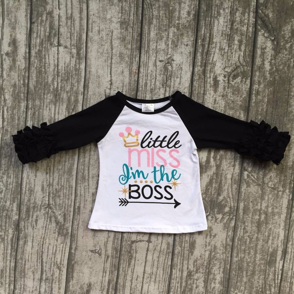 baby girls three quarter icing boutique little miss Im the boss white top shirts crown clothing back to school cotton raglan