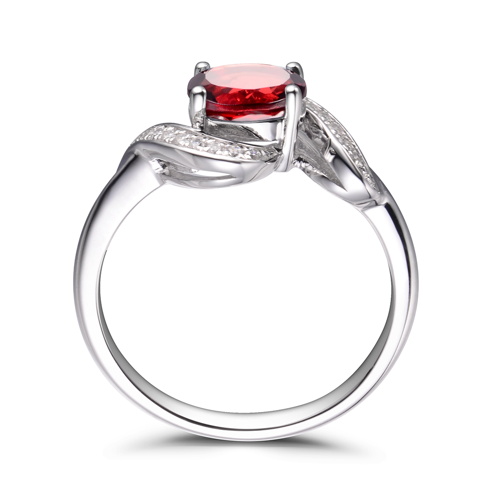 LeiGe Jewelry Natural Garnet Engagement Rings January Birthstone Rings Oval Cut Red Gems Rings 925 Sterling Silver Vintage Rings