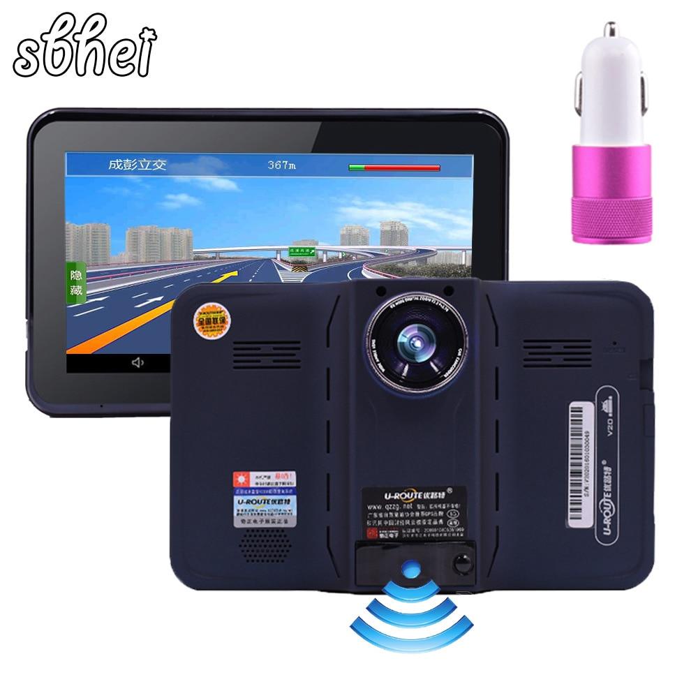sbhei 7 inch gps navigation android radar detector with dvr rear view automobile navigator. Black Bedroom Furniture Sets. Home Design Ideas