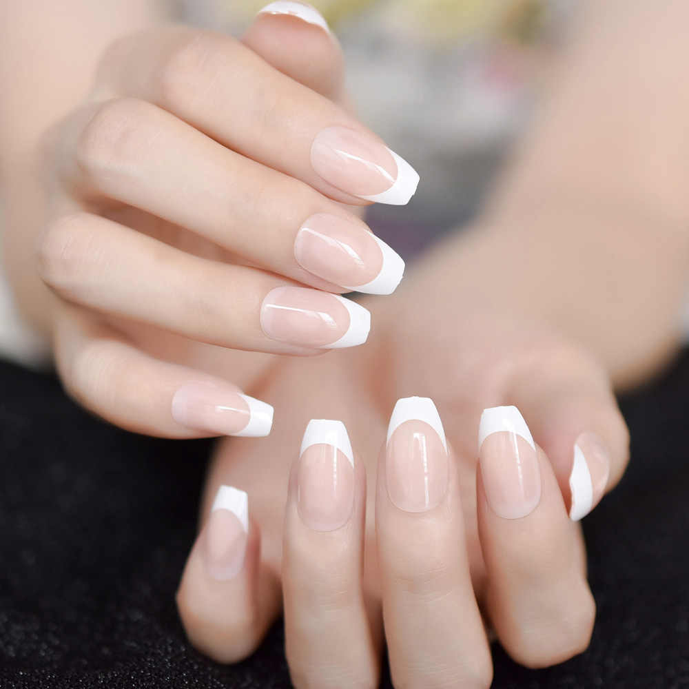 Ballerina Natural Beige Nude Coffin Shape White French Fake Nails