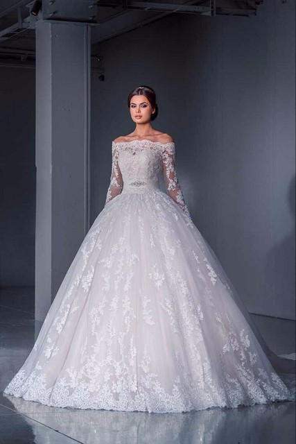 robe de mariage 2016 off the shoulder lace islamic wedding dress ball gown long sleeve bridal - Aliexpress Mariage