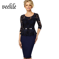 VEEKLE Lace Up Patchwork Women Wear To Work Office Dress Ruffle Waist Belted Peplum Tunic Bodycon