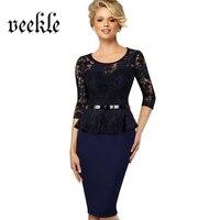 VEEKLE Lace Up Patchwork Women Wear To Work Office Dress Ruffle Waist Belted Peplum Tunic Bodycon