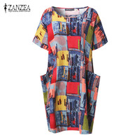 ZANZEA 2017 Summer Boho Floral Print Women O Neck Short Sleeve Oversized Batwing Kaftan Long Shirt
