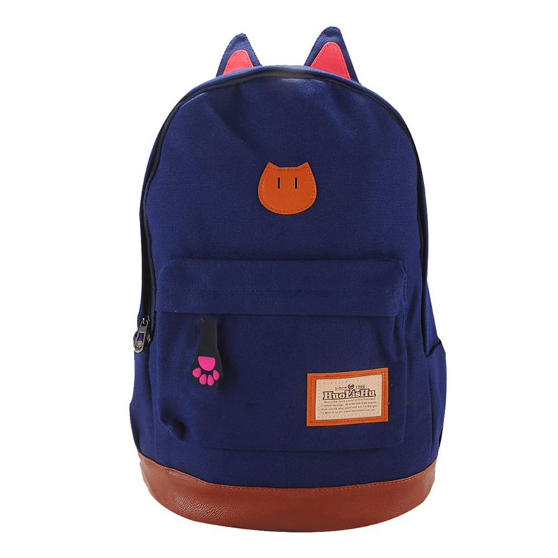 Canvas Backpack For Women Girls Satchel School Bags Cute Cat Rucksack School Backpack Children Cat Ear Cartoon Women Bags