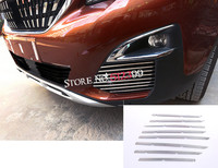 16pcs/set Exterior Stainless Steel Front Grille Grills Cover Trim Car Styling For Peugeot 5008 GT 2017 2018 Car accessories