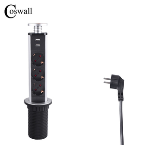 COSWALL 16A PULL POP UP 3 Power Socket 2 USB Charging Port Kitchen Table Desktop Sockets Retractable Countertops Worktop EU Plug