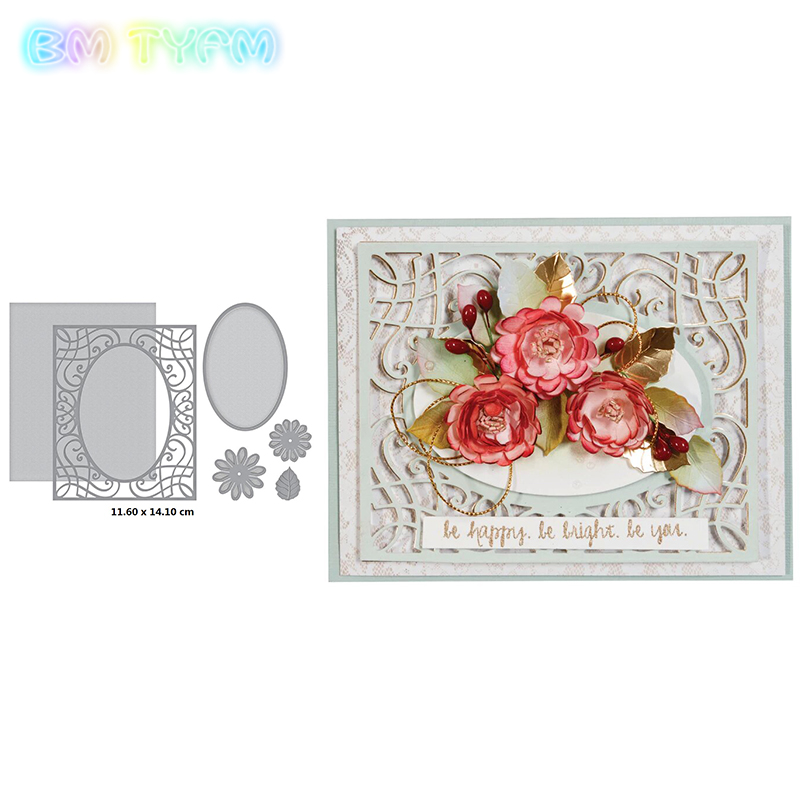 Frame flower and leaves Metal cutting dies frame craft cutting die embossing stencil for handmade Paper card making scrapbooking in Cutting Dies from Home Garden