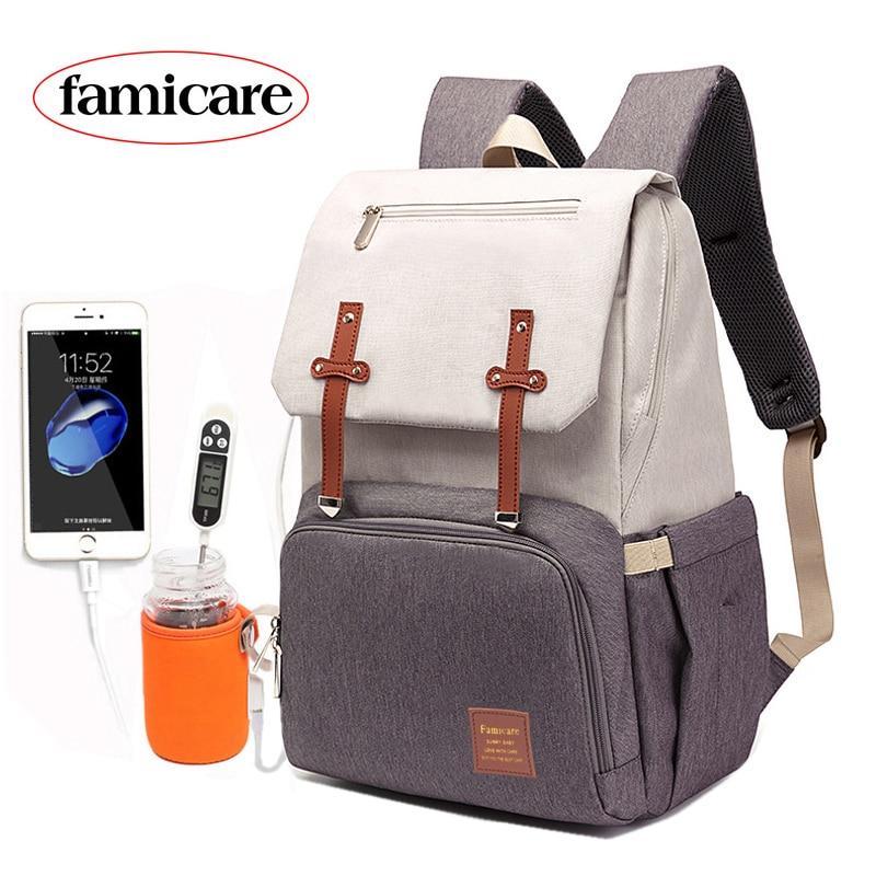 Bolsa de mami y papi mochila cochecito de bebé bolsa de Oxford impermeable bolso de pañales Kits de bolsa USB más caliente titular