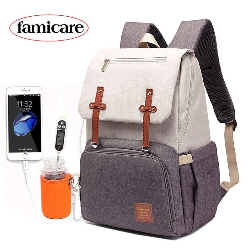 Sac à langer momie papa sac à dos bébé poussette sac étanche Oxford sac à main soins infirmiers Nappy Kits sac de maternité USB porte-réchauffeur