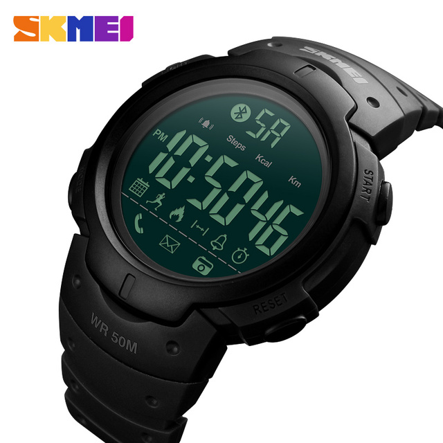 8a951161310 Skmei Mens Digital Sport Tops Watch App Reminder Camera Vintage Pedometer  Wristwatches Casual PU Bluetooth Relogio Masculino