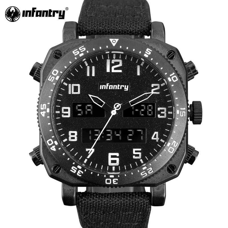 INFANTRY Military Watch Men Digital LED Wristwatch Mens Watches Top Brand Black Nylon Army Sport Chronograph Relogio Masculino infantry military watch men square digital led wristwatch mens watches top brand tactical army sport nylon relogio masculino