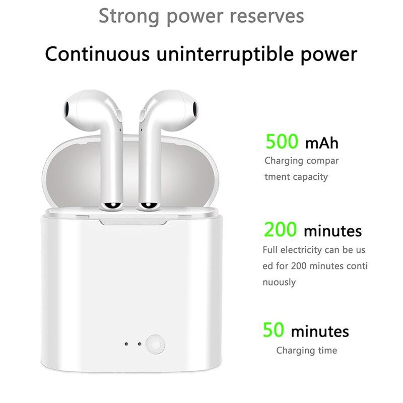Neue i7S TWS Mini Bluetooth Kopfhörer Original Kopfhörer Stereo Bass Wireless Headset Ohrhörer mit Mic für Alle smartphone