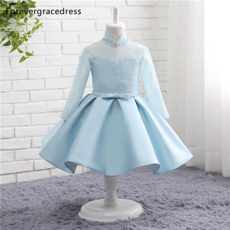 Forevergracedress Real Photos Lovely   Flower     Girl     Dress   Cute A Line Long Sleeves Lace With Sashes Kids Children Pageant Gown
