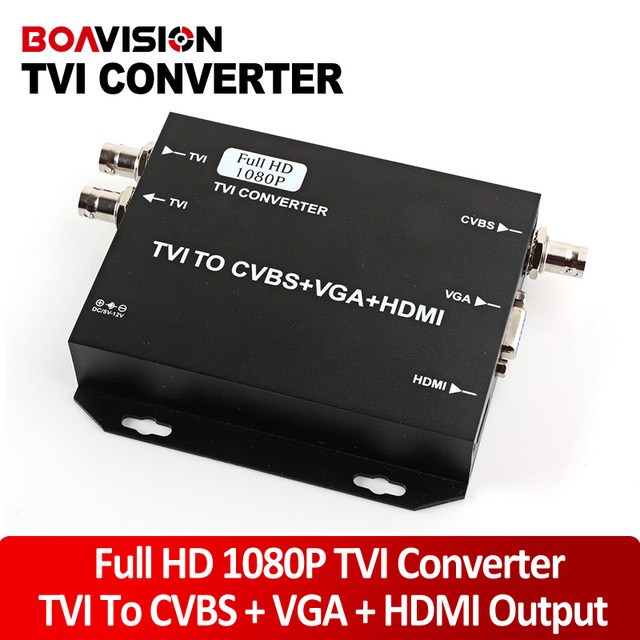 2016 NEW TVI Camera Signal to HDMI/VGA/CVBS Converter Support HDMI+VGA+CVBS(BNC) Output 1080P@25/30Hz HD Video Converter-Black