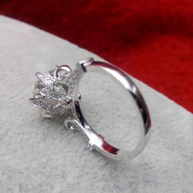 5Ct ラウンドカットブリリアントダイヤモンドリング固体 925 スターリングシルバーリング女性用ダイヤモンド婚約ブライダルジュエリー