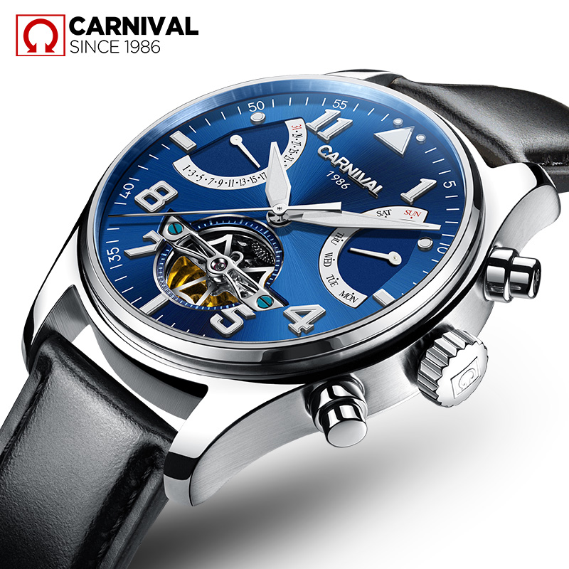 Carnival Watch Men tourbillon Automatic Mechanical Silver Stainless Steel Waterproof multifunction Blue Dial Watches все цены