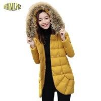 Nowe gorące modele Zima kobiet Futra Z Kapturem obroże Bawełna Odzieży bawełny kurtka 2018 Moda Koreański styl Długi płaszcz Kobiet WKM609