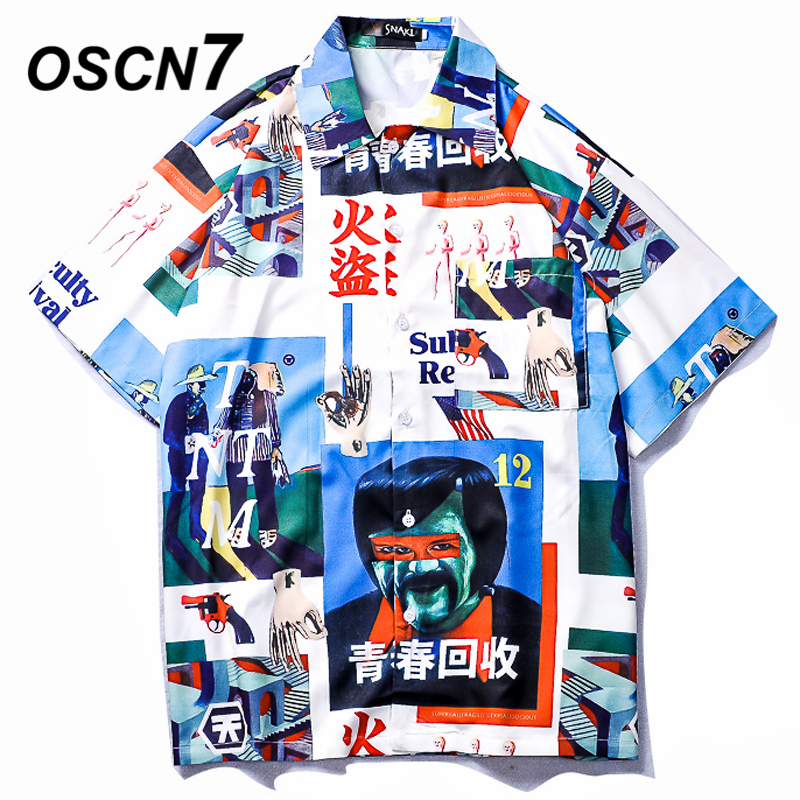 OSCN7 Printed Shirts Men Street Short Sleeve 2019 Summer Fashion Beach Mens Shirt Loose Casual Korea Chemise Homme 661