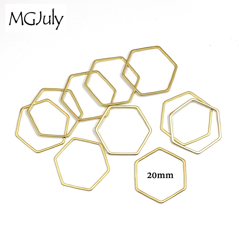 20pcs/Lot 20mm Gold Color&Silver Color Geometric Metal Hexagon DIY Earrings Parts Handmade Accessories Jewelry Parts AC007